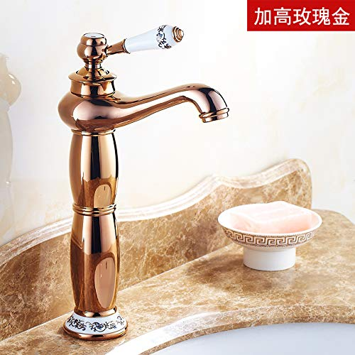 The High pink gold Hlluya Professional Sink Mixer Tap Kitchen Faucet The golden faucet hot and cold taps full copper bathroom plus high bluee-tiled table top basin gold plated antique taps, redation of gold plus high
