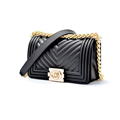 2848462b00b2 Quilted Purses and Handbags for Women Gold Chain Jelly Crossbody Bags for  Women Black