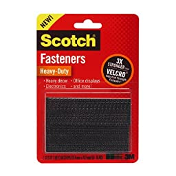 Scotch(R) Heavy-Duty Fasteners, 2 Sets of 1 x 3 Inches, Strips ,Black 4-PACK