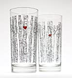 Birch Tree Glassware – Set of 2 Highball Glasses, Wedding Gift, Newlyweds For Sale