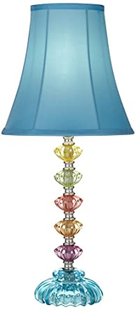 Bohemian Teal Blue Stacked Glass Table Lamp Amazon Com