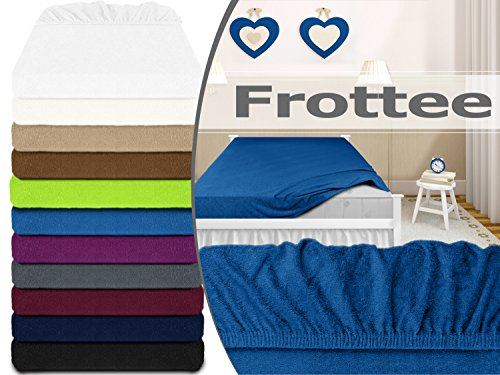 klassisches Frottee-Spannbetttuch - erhältlich in 10 modernen Farben und 3 verschiedenen Größen - Steghöhe von ca. 30-35 cm - passend für Standardmatratzen und Wasserbetten, 90-100 x 200 cm, royalblau