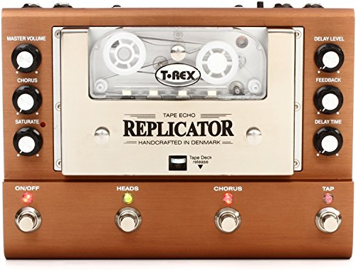 T-Rex Engineering REPLICATOR Analog True Tape Echo Guitar Effects Pedal with Two Playback Heads, Three Operation Modes, Tap Tempo, and Two Expression Pedal Inputs ()