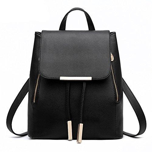 KARRESLY Women's Mini Backpack Purse PU Leather Rucksack Purse Ladies Casual Shoulder Bag School Bag for Girls(Black) by KARRESLY