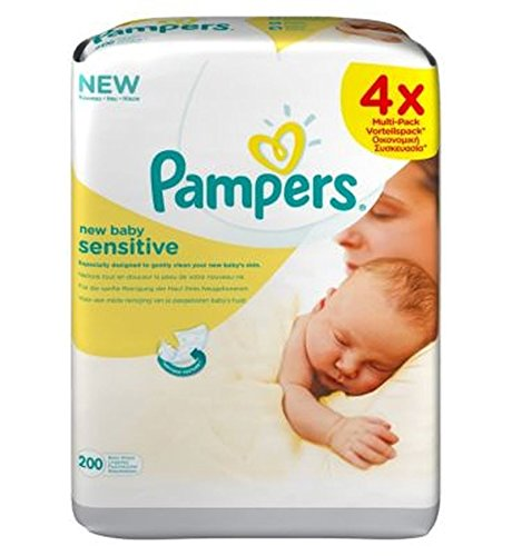 Pampers Toallitas De Bebé Nueva Sensibles - 200Wipes (4X50) (Paquete de 2)
