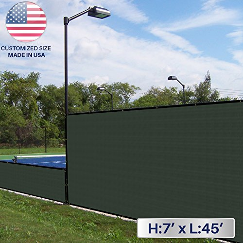 Windscreen4less 7' x 45' Solid Green Fence Privacy Screen Commercial-Grade Solid Vinyl 100% Privacy Blockage (480GSM) -3 Year Limited Warranty