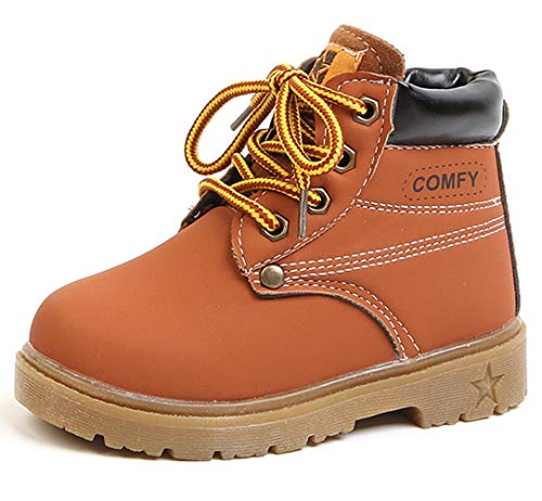 DADAWEN Baby's Boy's Girl's Classic Waterproof Outdoor Insulated Winter Snow Boots Brown US Size 7 M -