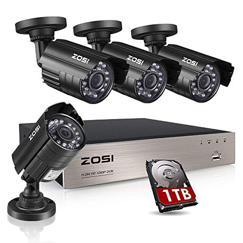 - ZOSI 8CH Security Camera System HD-TVI Full 1080P Video DVR Recorder with 4X HD 1920TVL 1080P Indoor Outdoor Weatherproof CCTV Cameras 1TB Hard Drive,Motion Alert, Smartphone, PC Easy Remote Access