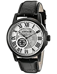 Thomas Earnshaw Men's 'Beagle' Swiss Automatic Stainless Steel and Leather Dress Watch, Color:Black (Model: ES-0028-03)