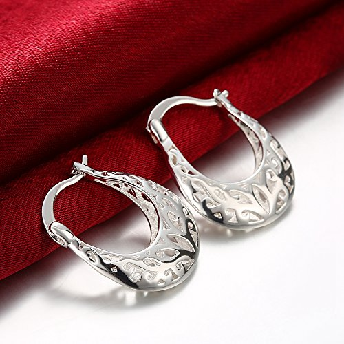 Huangiao Sterling Silver Polished Filigree Intertwined Infinity Small Hoop Earrings Ear Buckle Valentine's Day ()