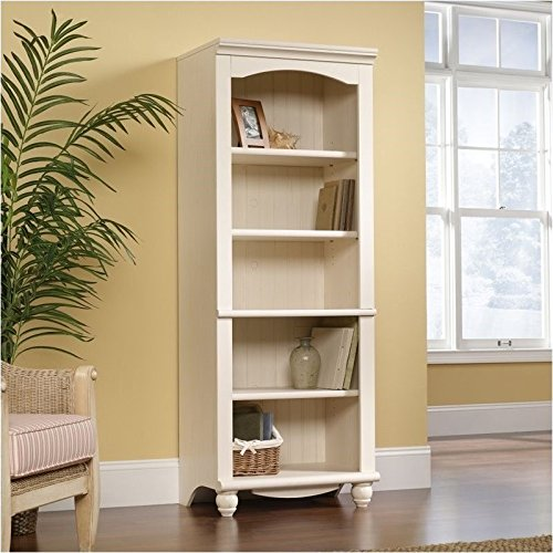 Pemberly Row Library 5 Shelf Bookcase in Antiqued White Finish (Antique White Bookshelf)