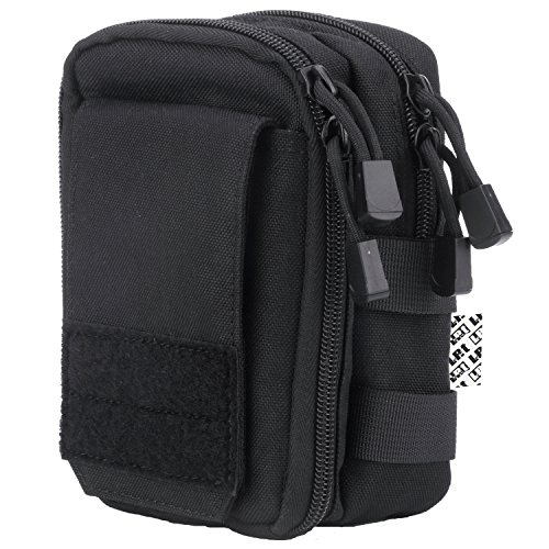 LefRight Multipurpose Tactical Nylon Molle Utility IFAK Pouch Waist Bag Holster Combo Detachable Strap Compatible with iPhone XR 7 Plus Pixel XL S8 S7 Edge Moto Z Force Play (Black)