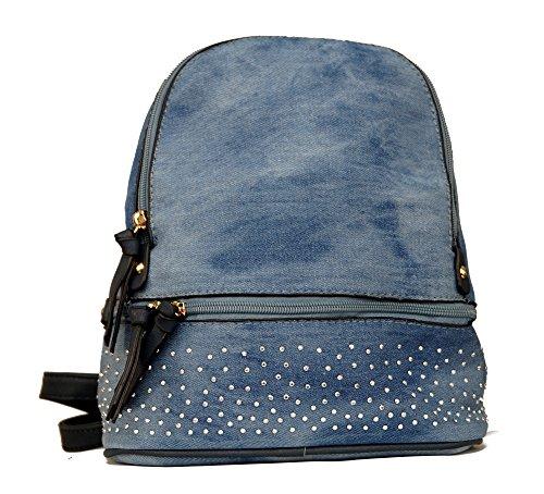 Damen Tasche Jeans Cityrucksack Mini Rucksack Schultertasche Umhangtasche Handtasche kleiner Stadtrucksack mit Strass Jeans Blau