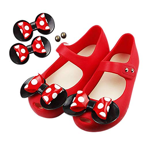 09f45ed4c9f95 TANDEFLY Toddler Girls Mary Jane Flat Jelly Shoes White Dots Kid's Sandals  (Comes with 1 Pair of Bows Tie)
