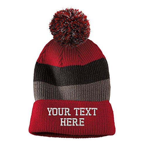 Personalize Your Custom Text On Unisex Adult Acrylic Vintage Striped Removable Pom Pom Beanie Skully Hat - Red/Black/Grey Stripes, One Size]()