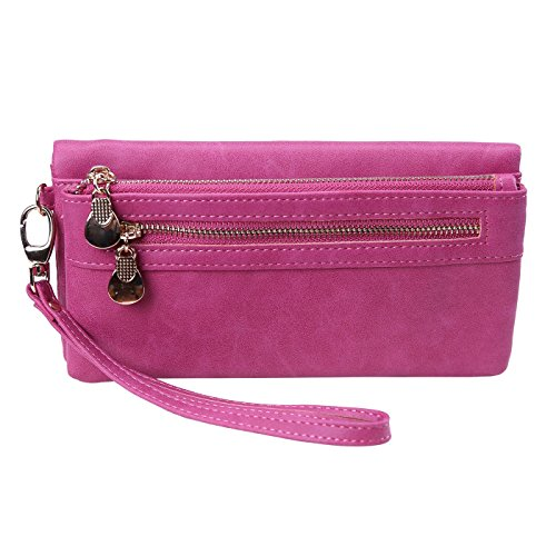 [HDE Womens Soft Leather Wallet Multi-Function Zipper Clutch Wristlet (Pink)] (Pink Soft Leather)