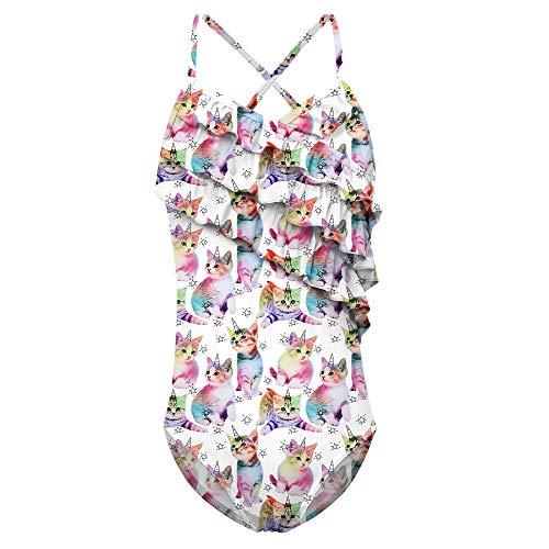 (Funnycokid Girls' Rainbow Cat Bathing Suit Flounce Swimwear Beach Sport 1-Piece Swimsuit Size)