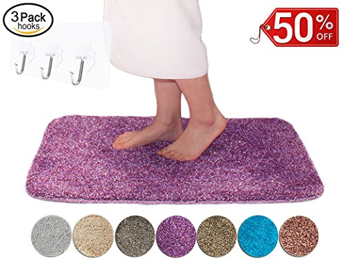 Yimobra Lively Color Bath Rugs XL 31.5 X 19.8 Inch Soft Non slip High Absorbent Bathroom Mats Purple with Red (Presented Wall Hooks 3 Pack) (Bath No Wall Color)