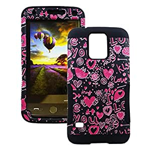 For Galaxy S5 Hearts Hybrid Protector Cover (Pink/Black)
