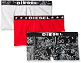 Diesel Men's 3-Pack Shawn Cotton Stretch Trunk, Black/Grey/Red, X-Large