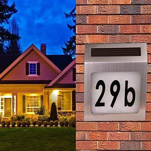 adresse de rue panneau lumineux LED pour la maison ou la cour flamme LED Tecwizz Lampe solaire en acier inoxydable pour num/éro de maison