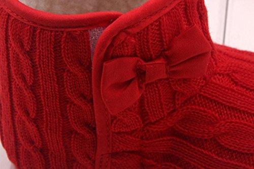 Minetom Bebé Bowknot Cargadores de la Nieve Suave Cuna Invierno Zapatos Botas Niño Rojo
