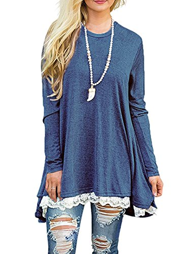 EMVANV Women's Cozy Fall Long Sleeve Lace Extender A Line Flattering Tunic Tops