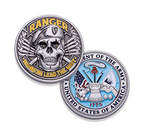 (Army Ranger Challenge Coin! Amazing 3D US Army Skull Custom Coin! Designed By A Military Veteran! Officially Licensed Army Military Coin! 1.75