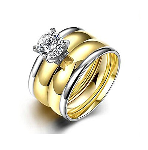 QTLI Ring,Steel AAA Cubic Zirconia Round Fashion Wedding / Party / Daily / Casual Jewelry Women Couple Rings 1set Gold , 8