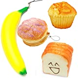 4Pcs Jumbo Slow Rising Squishy Smile Face Toast Cream Pineapple Bun Banana Cup Cake Scented Bread Delicious Food Toys for Kids Adults