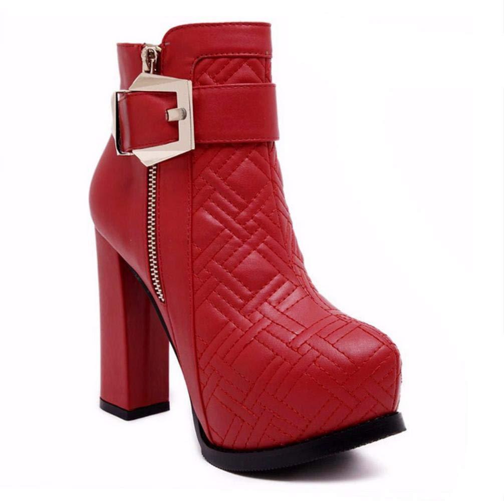 NVXUEZIX Damen Schuhe Kunstleder Winter Modische Stiefel Flaum Futter Stiefel Blockabsatz Spitze Zehe Stiefelies Stiefeletten Schnalle Für Normal us7.5   eu38   uk5.5   cn38