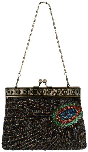 MG Collection Nisha Beaded Sequin Clutch, Black, One Size