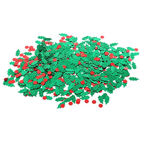 Jili Online Metallic Green Holly Red Berries Sprinkles Scatter Christmas Table Decor 15g