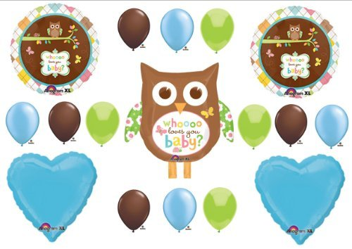 Whoo Loves You Baby Shower BOY Balloons Decorations Supplies by Anagram -