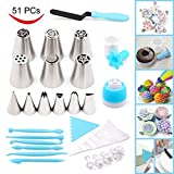 Joiedomi 51 Pieces Cake Icing and Decorating Kit Including 12 Stainless Steel Icing Tips, 25 Disposable Decorating Bags, Tri Color Coupler, Icing Spatulas, Icing Smoother, Cupcake ...