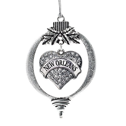Inspired Silver - New Orleans Charm Ornament - Silver Pave Heart Charm Holiday Ornaments with Cubic Zirconia Jewelry