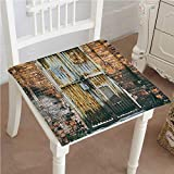 """Chair Pads Square Cotton Chair Cushion Rustic Dilapidated Metallic Door Gate Entrance to Brick Wall Factory Urban Design Grey Soft Thicken Seat Pads Cushion Pillow for Office,Home or Car 26""""x26""""x2pcs"""