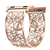 Apple Watch Band 38mm Rose Gold Women, Fresheracc Floral Hollow out iWatch Replacement Strap, Sport Wristband for Apple Watch Nike +,Sports, Series 3 / 2 / 1