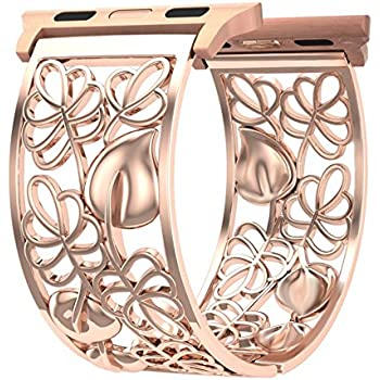 Compatible with Apple Watch Band 40mm 38mm Series 4 3 2 1 iWatch Bands Women, Fresheracc Bling Metal Floral Jewelry Wristband Replacement Straps