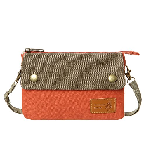 Cell Phone Purse Wallet Colorful Canvas Women Small Crossbody Purse Bags For Teen Girls(Orange2)