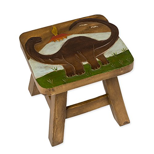 Brontosaurus Dinosaur Design Hand Carved Acacia Hardwood Decorative Short Stool by Sea Island Imports