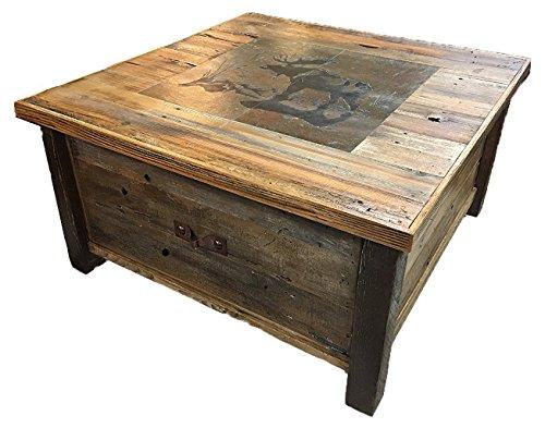 UTAH RUSTIC FURNITURE Authentic Barnwood Blanket Storage Coffee Table with Customizable Tile Scene (Furniture Rustic Utah)