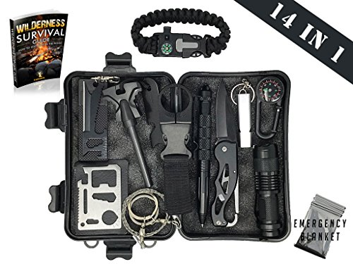 Survival Kit 14 in 1 & eBook - Emergency Gear Kit for Outdoor / Camping / Hiking / Self Defense Weapons - Tactical Pen, Flashlight, Wire Saw, Emergency Blanket, Modern Compass, Special eBook Included