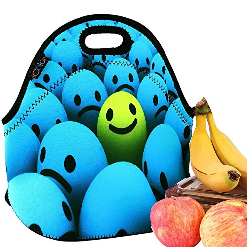 Smiles Lunch - iColor Smile Boys/girls Neoprene Sleeve Food Carrying LUNCH BOX School Office Tote Pouch Cooler Insulated Holder W/ Handle Soft Cover Case