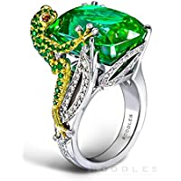 Yupha Fashion Women Jewelry Gemstone Nimals Green Crystal Frog Silver Wedding Ring (10)