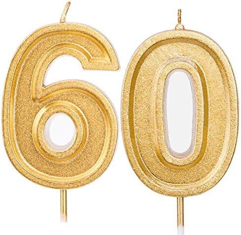 LUTER 7cm Goud Glitter Gelukkige Verjaardag Taartkaarsen Nummerkaarsen Verjaardagskaars Taarttopperdecoratie Voor Feestkinderen Volwassenen Nummer 60