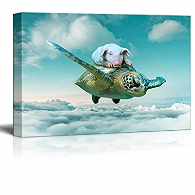 Pig On Flying Turtle Over Clouds - Canvas Art