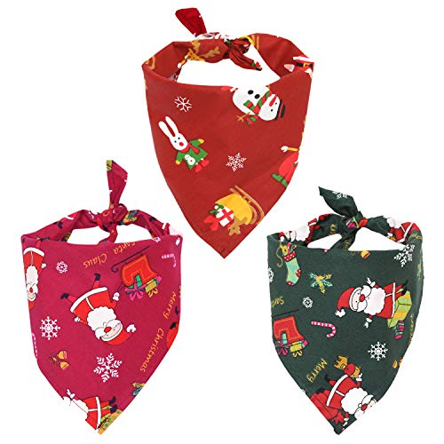 (Petsvv 3 Pack Christmas Dog Bandana Washable Reversible Triangle Bibs Scarf for Dogs Cats Pets )