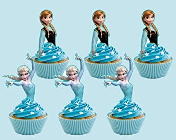 Amazoncom 12 EDIBLE Stand Up Disney Frozen Cupcake Toppers