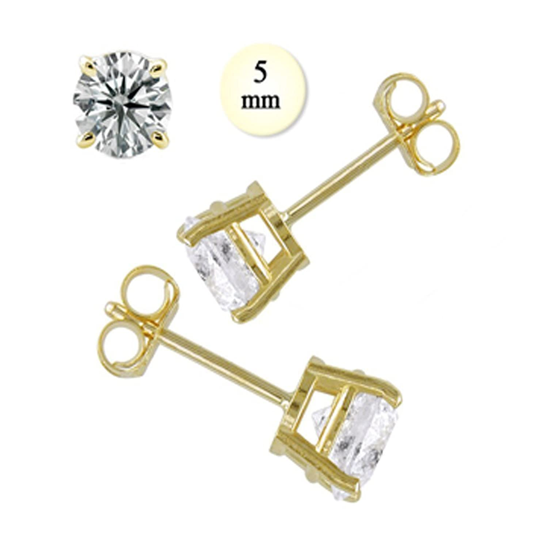 Amazon Crazy2Shop 14K Yellow gold Round Cut Simulated Diamond
